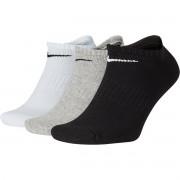 Meia Nike Sem Cano Cushion Preta Branca e Cinza Com 03 Pares - 39 ao 43