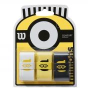 Overgrip Wilson Minions Comfort Amarelo Branco e Preto Com 03 Unidades