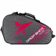 Raqueteira de Beach Tennis Drop Shot Ambition Cinza e Rosa