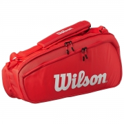 Raqueteira Wilson ESP Super Tour X6 Vermelha e Branca