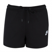 Shorts Moleton Nike Essential FT Preto e Branco - Feminino