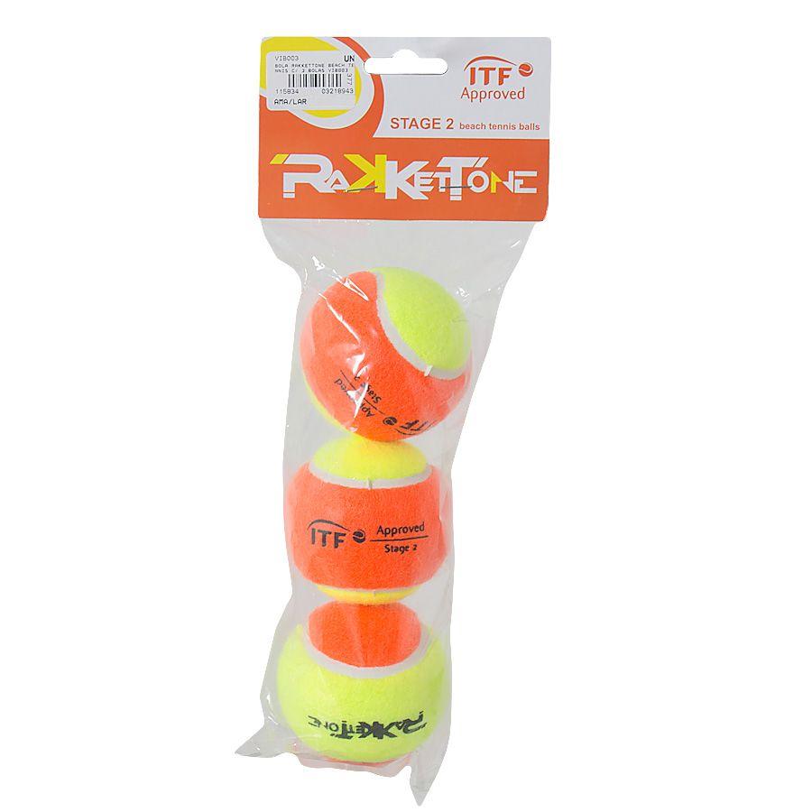 Bola de Beach Tennis Rakkettone Com 03 Unidades