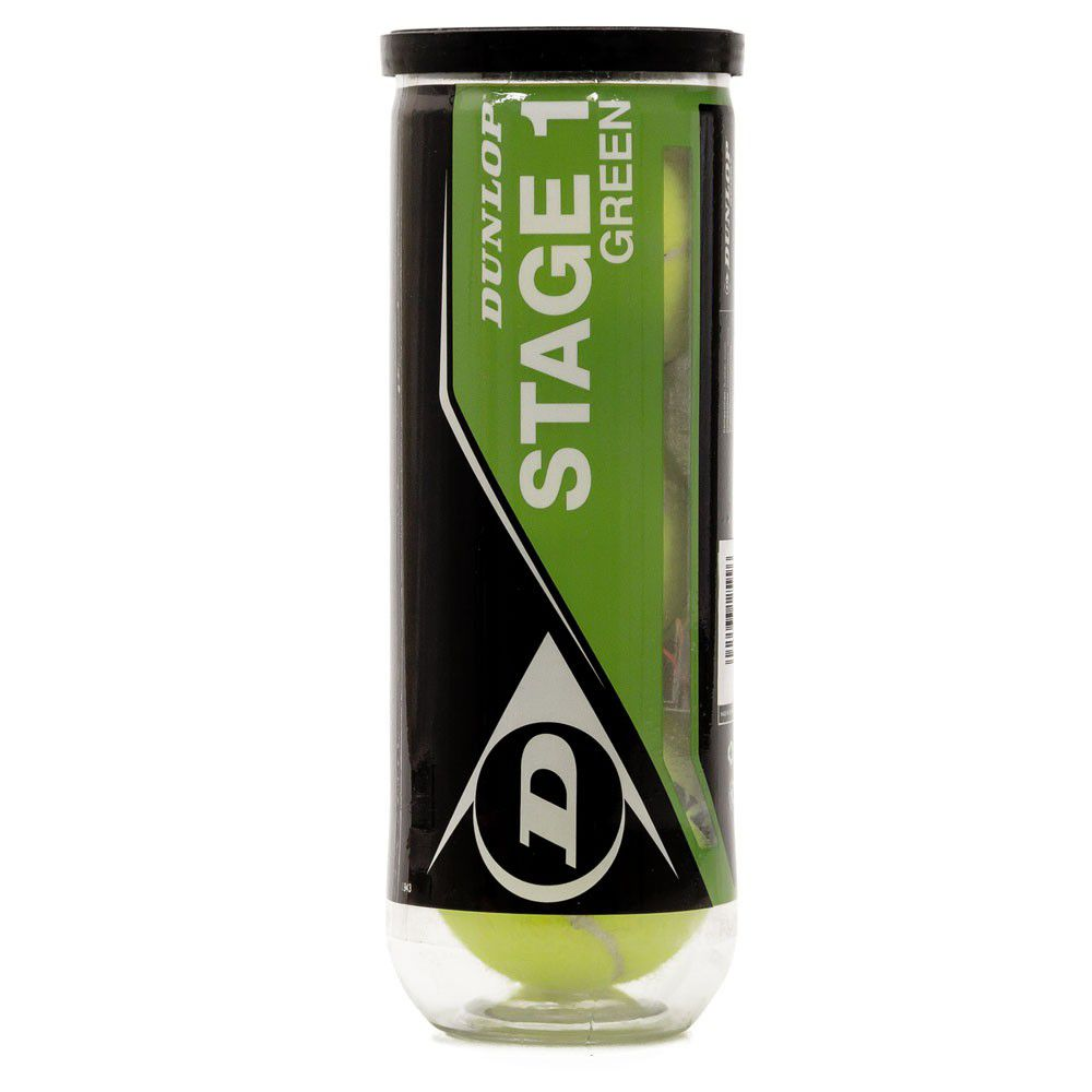 Bola de Tênis Dunlop Stage 1 Verde Com 03 Unidades