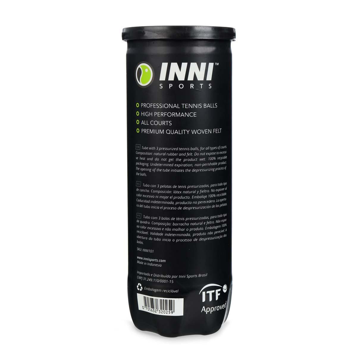Bola de Tênis Inni Tournament - Tubo Com 3 Bola
