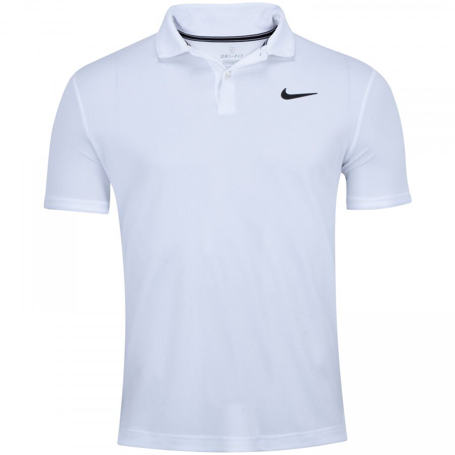 Camisa Polo Nike Court Dry Branca e Preta