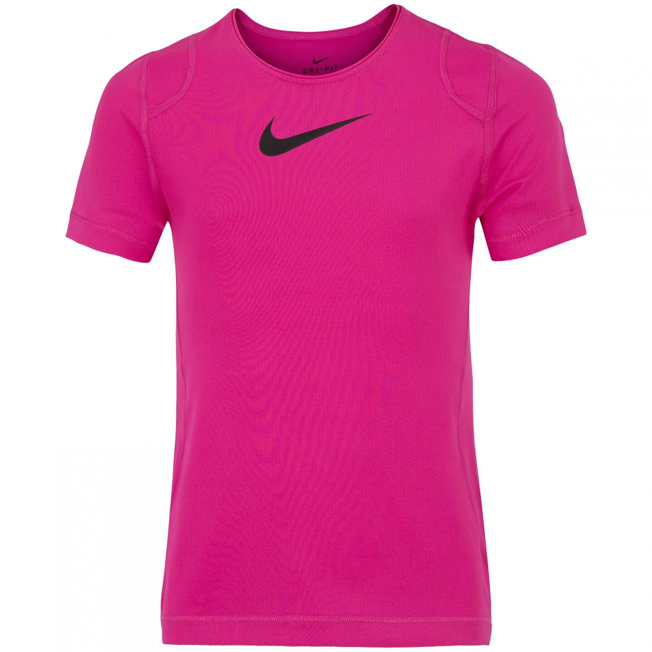 Camiseta Infantil Nike Top SS Pink e Preta - Feminina