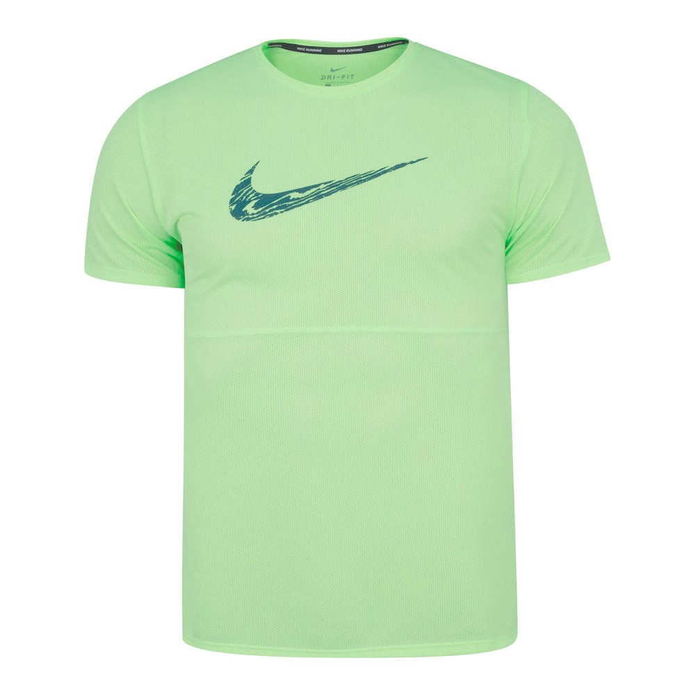 Camiseta Nike Dri Fit Breathe Run WR GX Verde Claro - Masculino