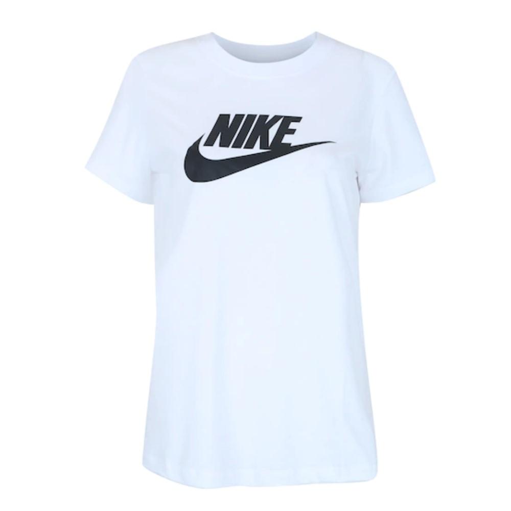 Camiseta Nike Essentials Icon Branca e Preta - Feminina