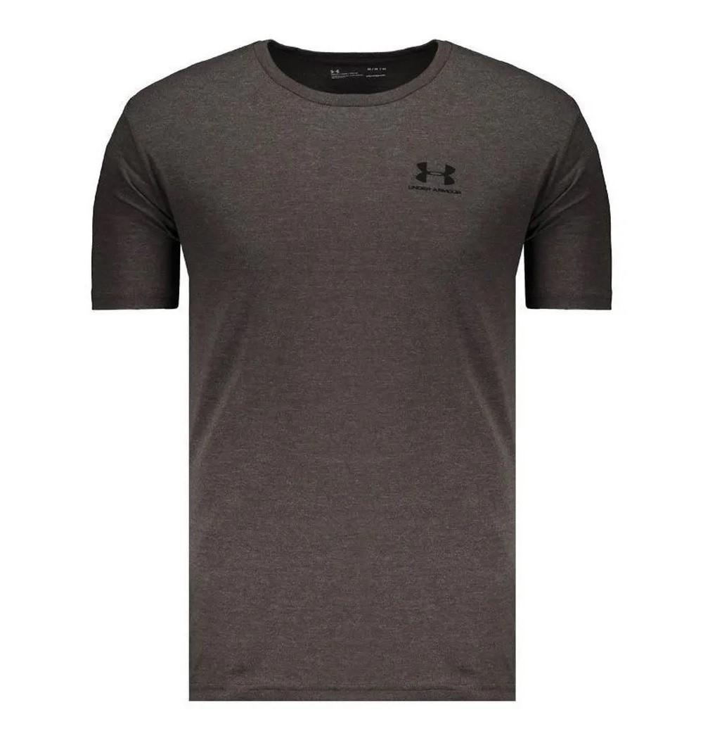 Camiseta Under Armour Sportstyle Left Cinza e Preto - Masculino