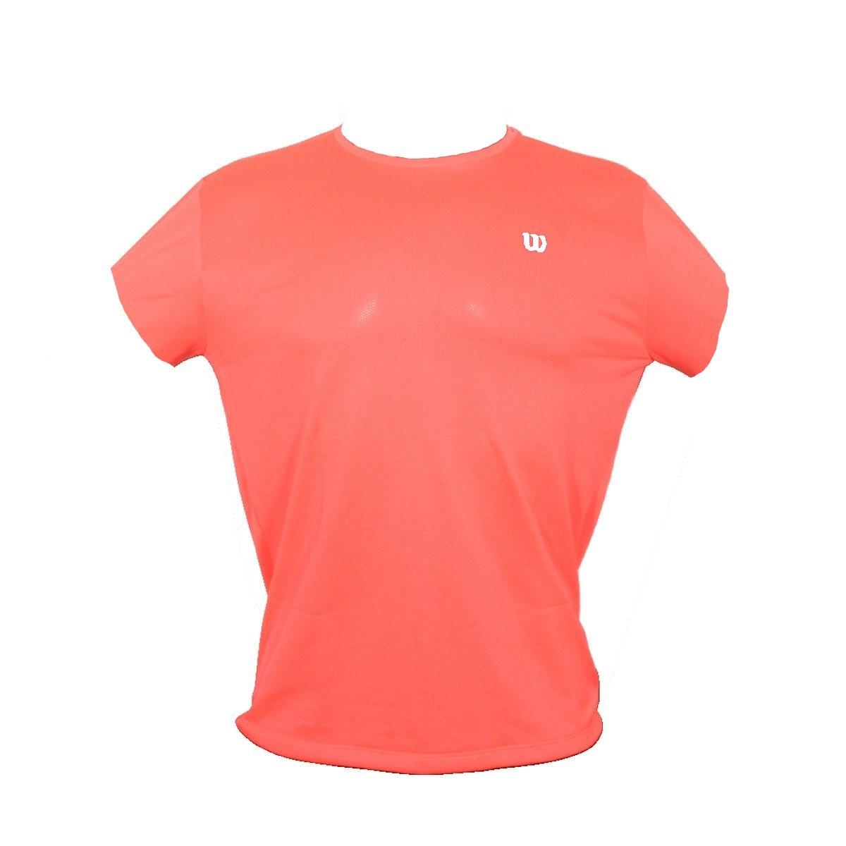 Camiseta Wilson Trainning 10 Neon Coral e Branco - Feminino