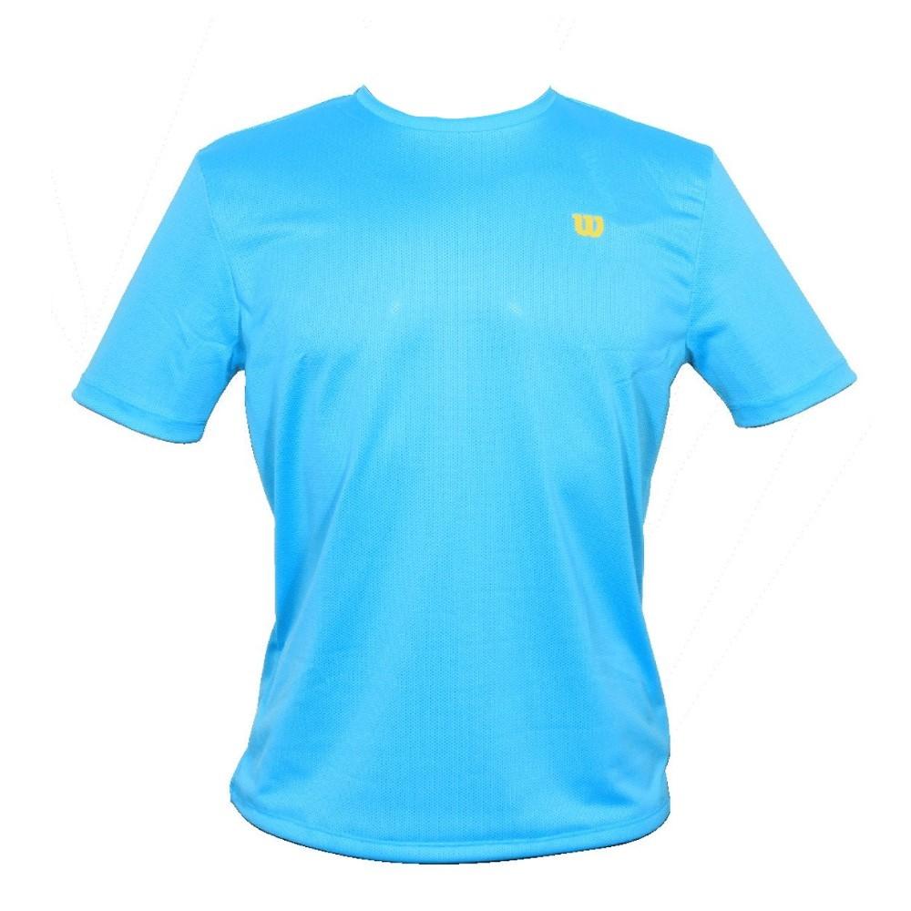 Camiseta Wilson Trainning 10 Turquesa e Amarelo - Masculino
