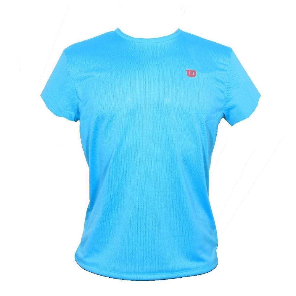 Camiseta Wilson Trainning 10 Turquesa e Rosa - Feminino