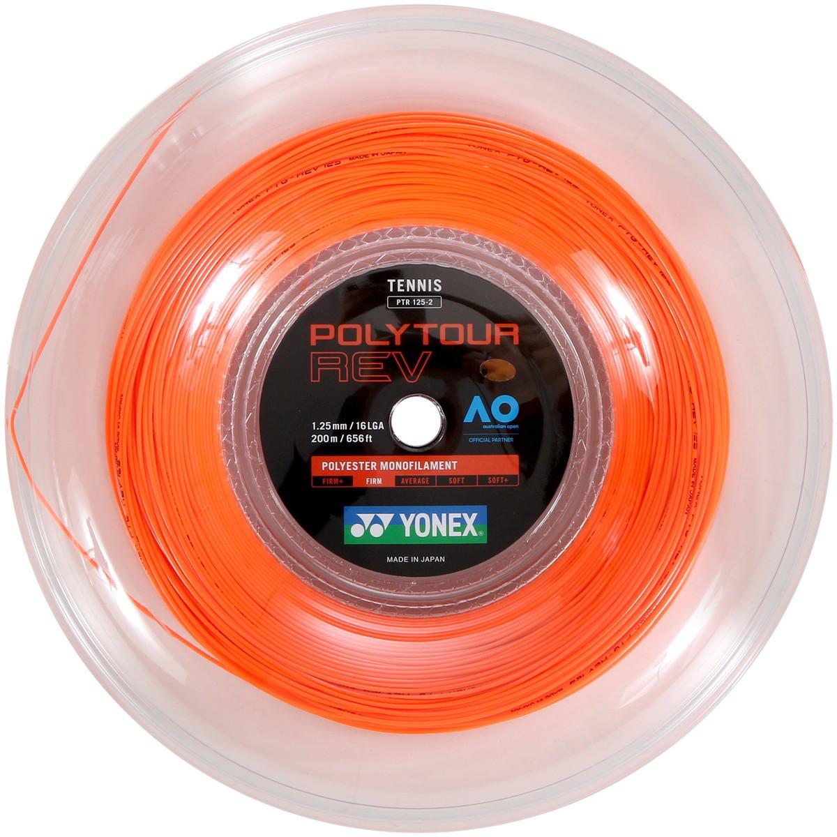 Corda Yonex Poly Tour Rev 1.25mm Laranja Rolo Com 200 Metros