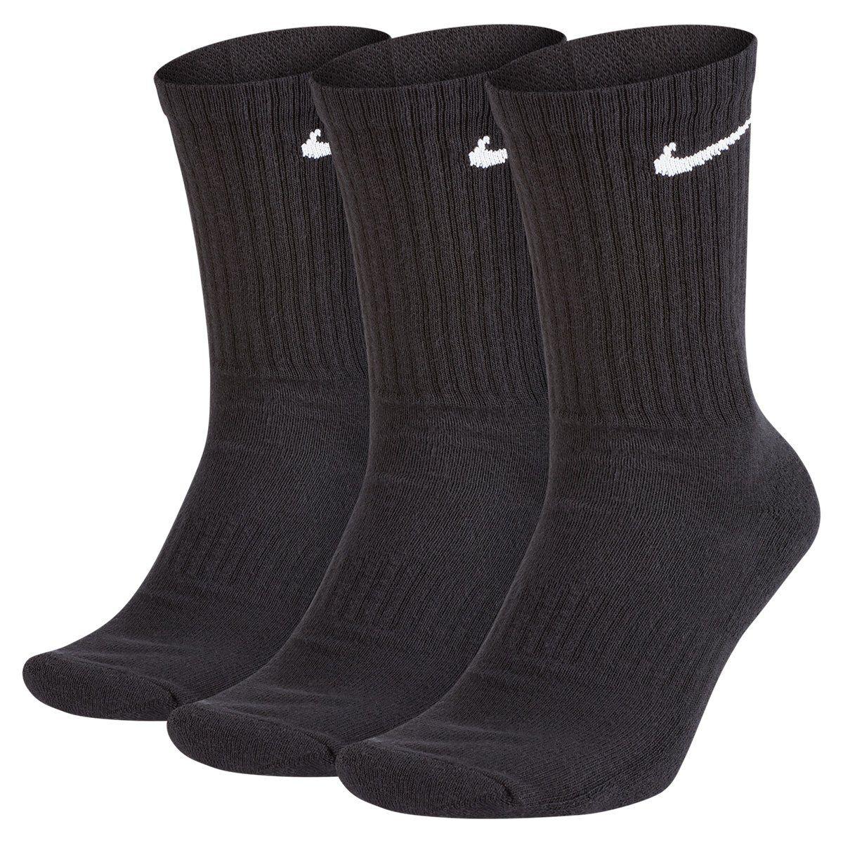 Meia Nike Cano Alto Cushion Crew Preta Com 03 Pares - 34 ao 38