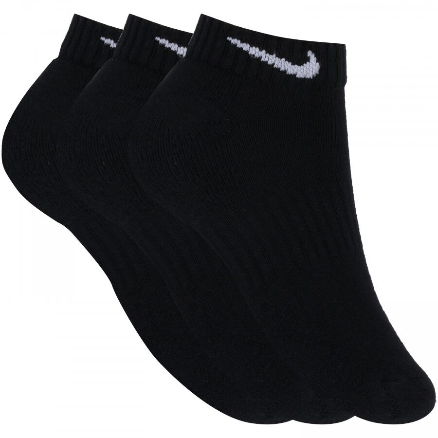 Meia Nike Cano Baixo Evereday Cushion Preta Com 03 Pares - 34 ao 38