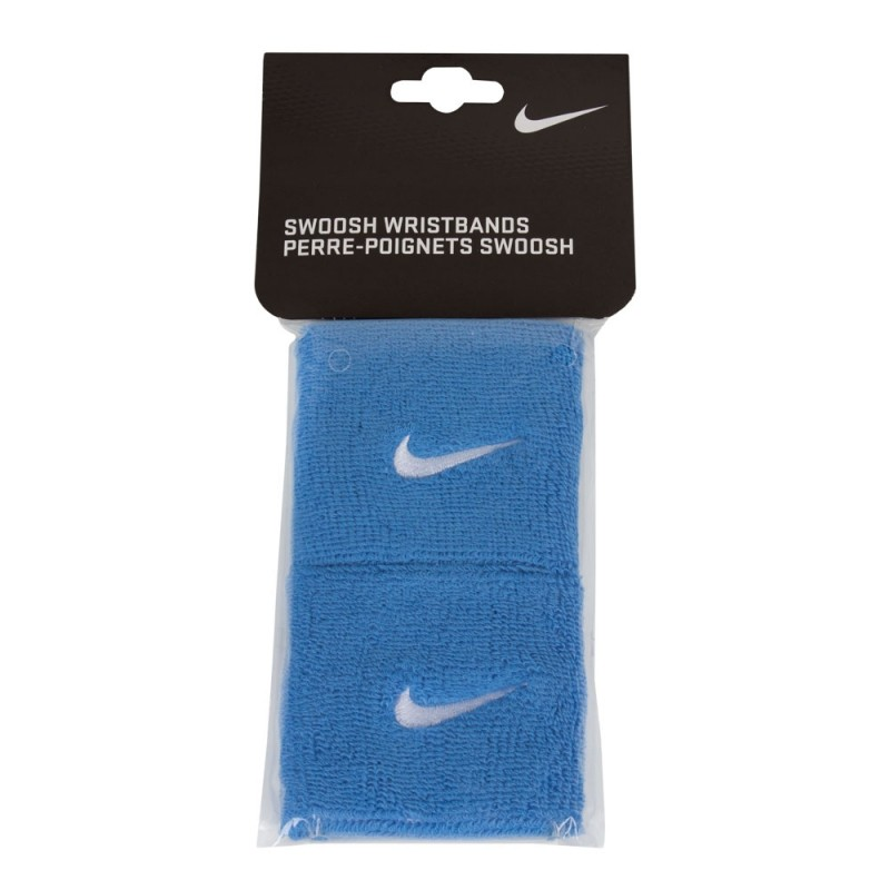 Munhequeira Nike Pequena Swoosh Azul Claro e Branca
