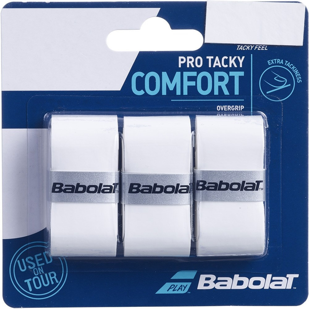 Overgrip Babolat Pro Tacky Comfort Branco Com 03 Unidades