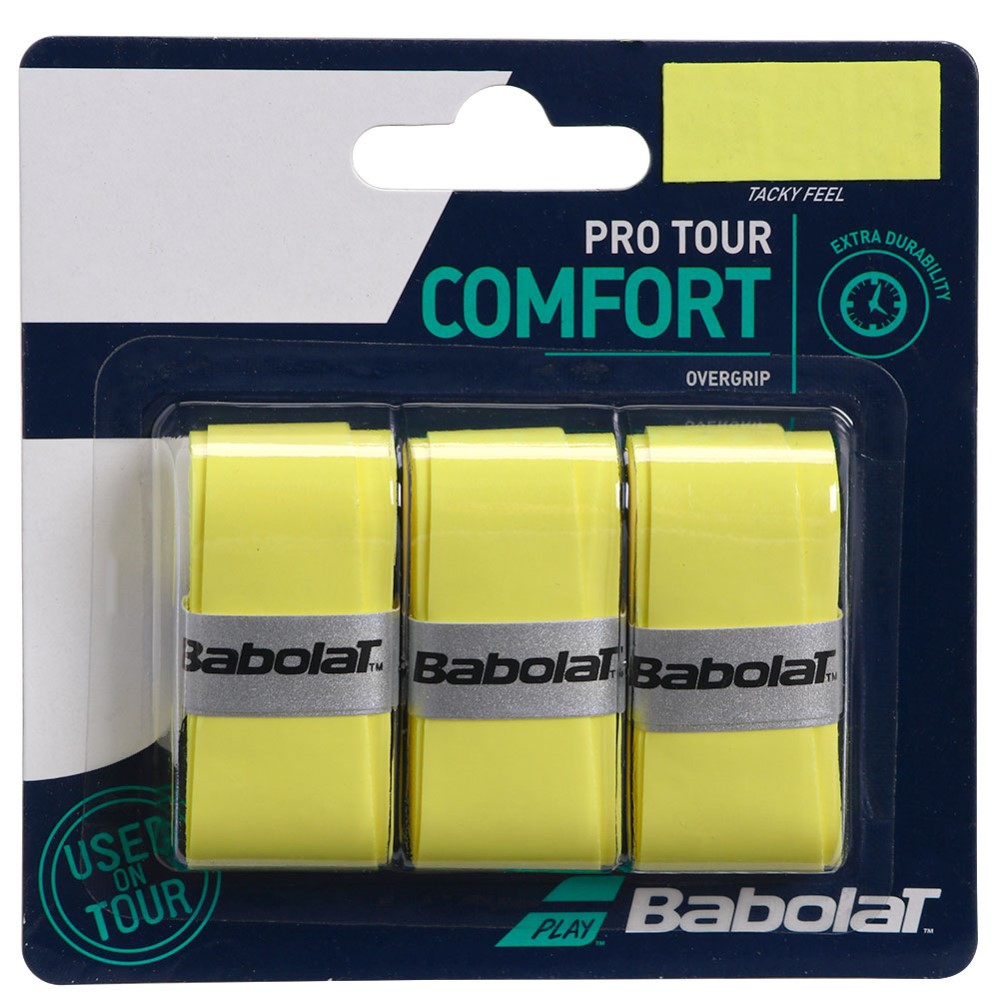 Overgrip Babolat Pro Tour Amarelo Com 03 Unidades