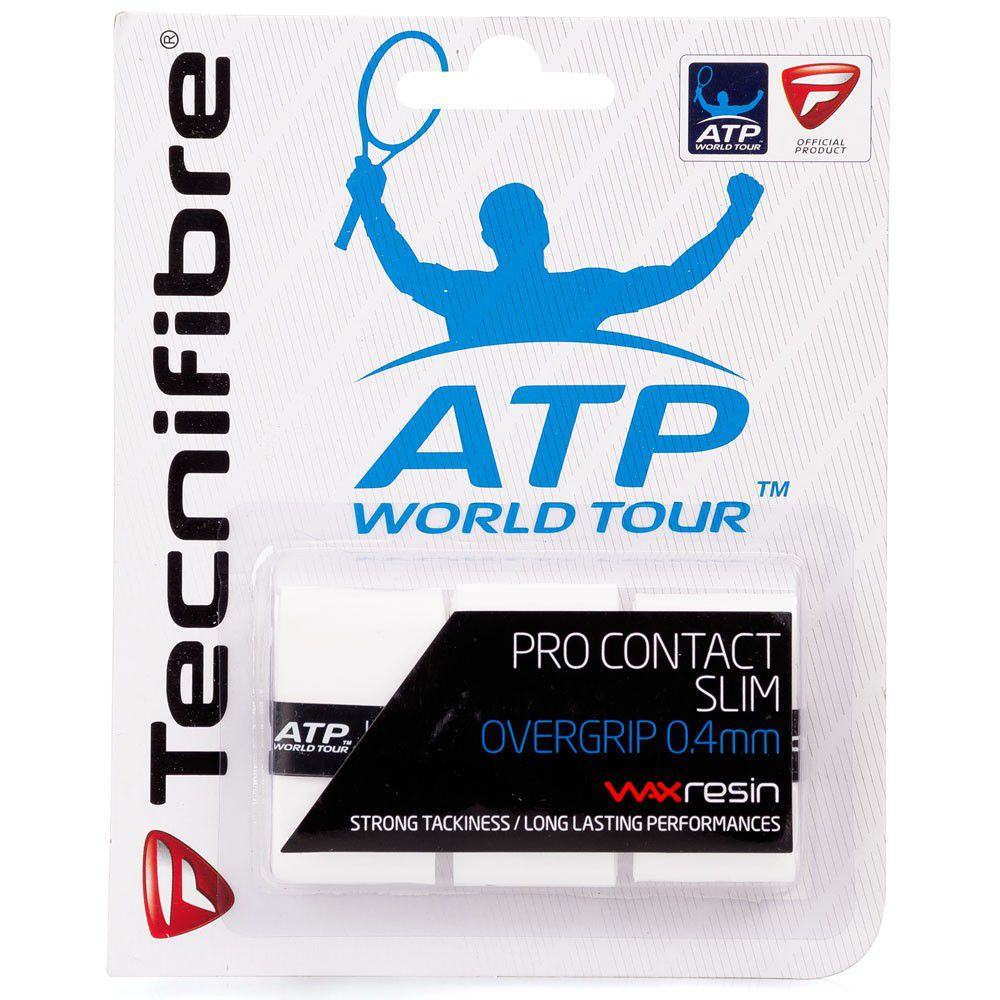 Overgrip Tecnifibre Pro Contact Slim Branco 0.4mm com 03 Unidades