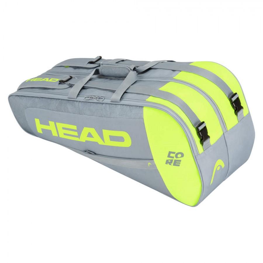 Raqueteira Head Core 6R Combi Cinza e Amarela