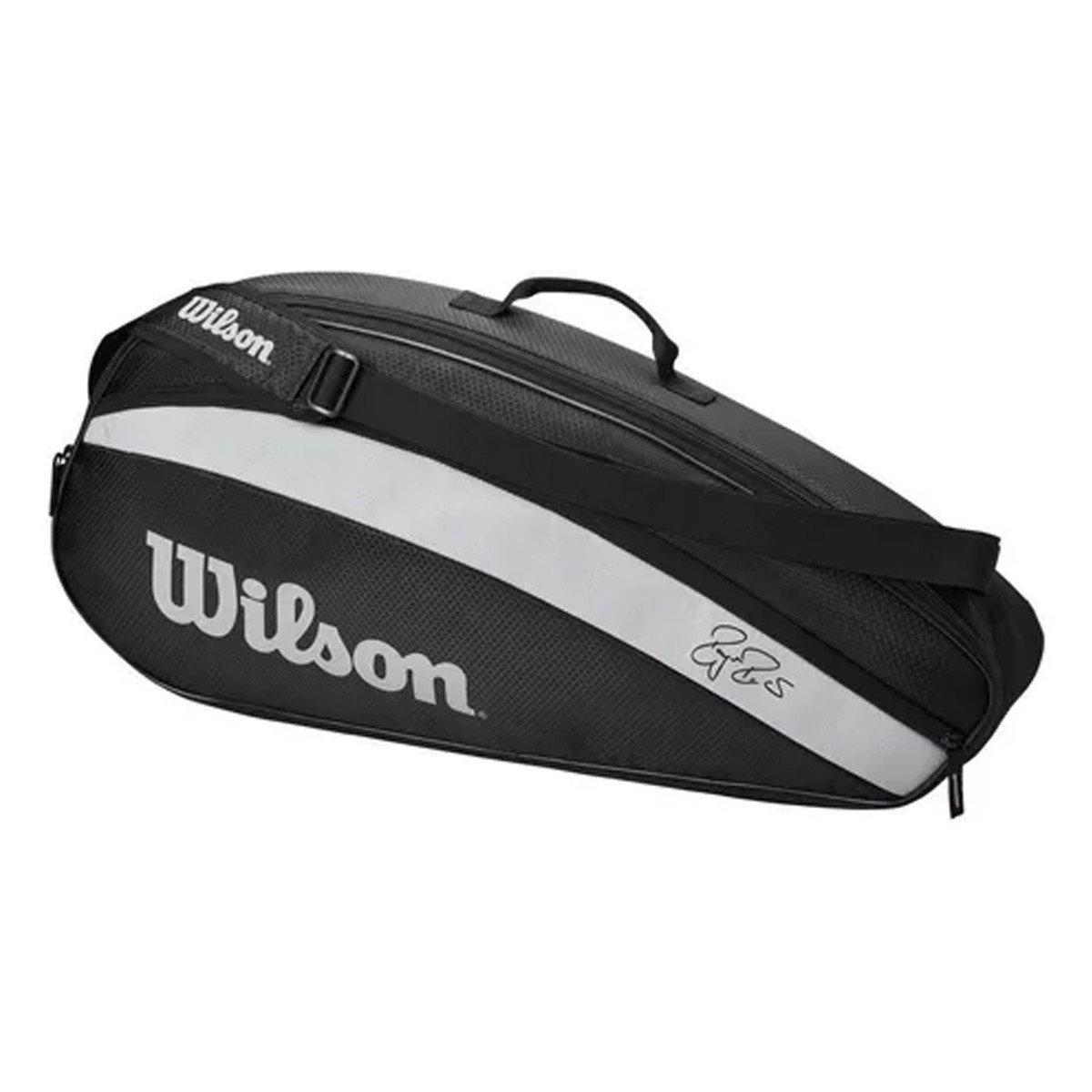 Raqueteira Wilson ESP Federer Team X3 Preta e Cinza - 2021