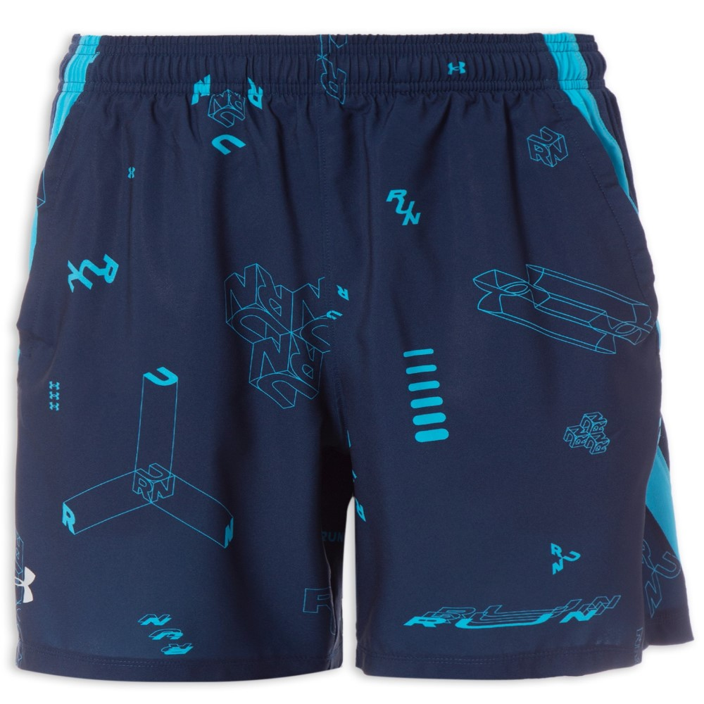 Shorts Under Armour Launch SW 7 Marinho e Azul Claro - Masculino