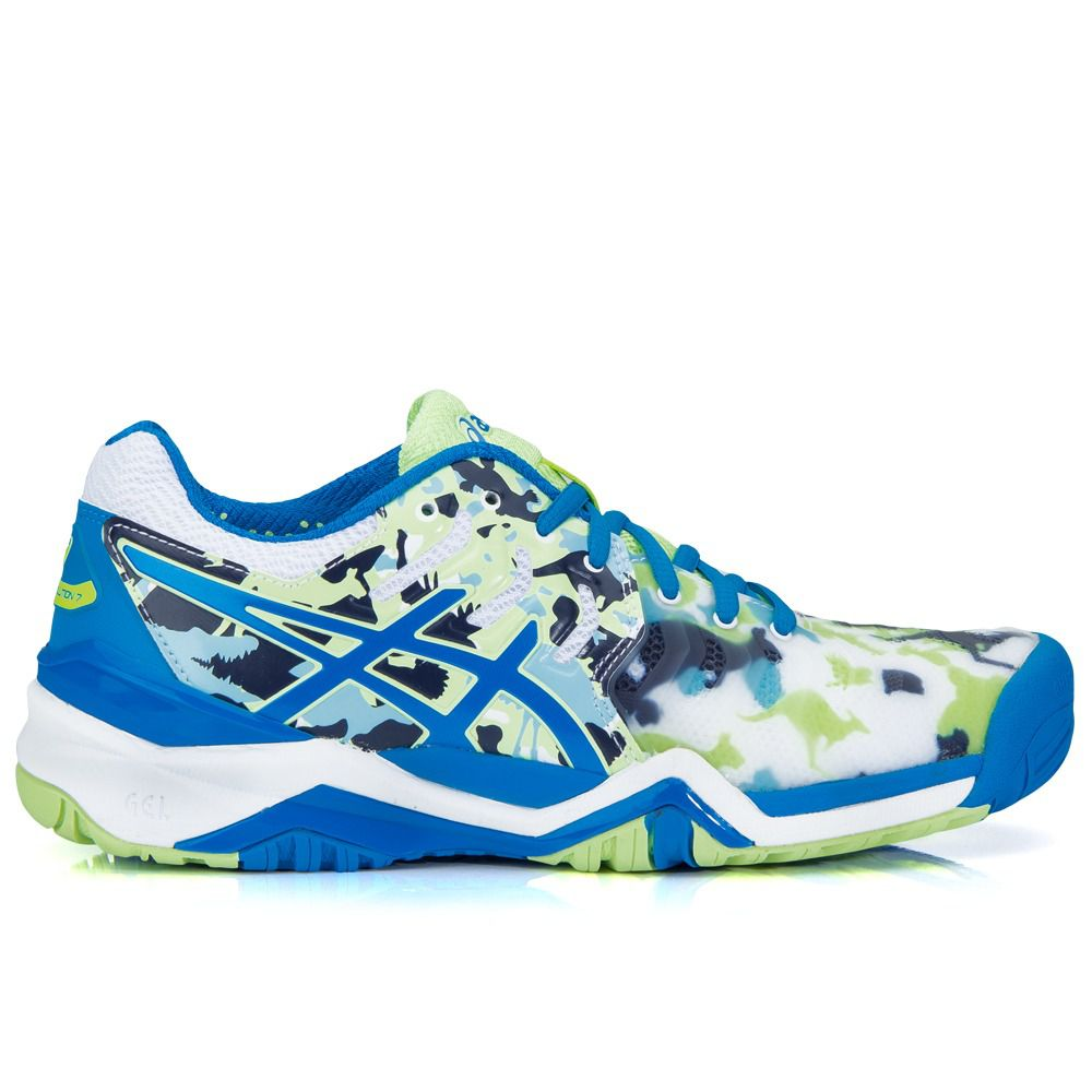 2231cf04a0 Tênis Asics Gel Resolution 7 L.E Melbourne Azul Verde e Branco - Spinway  Tennis e Beach ...