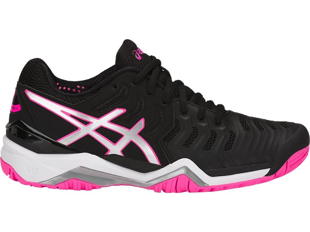 Tênis Asics Gel Resolution 7 Preto Prata e Rosa