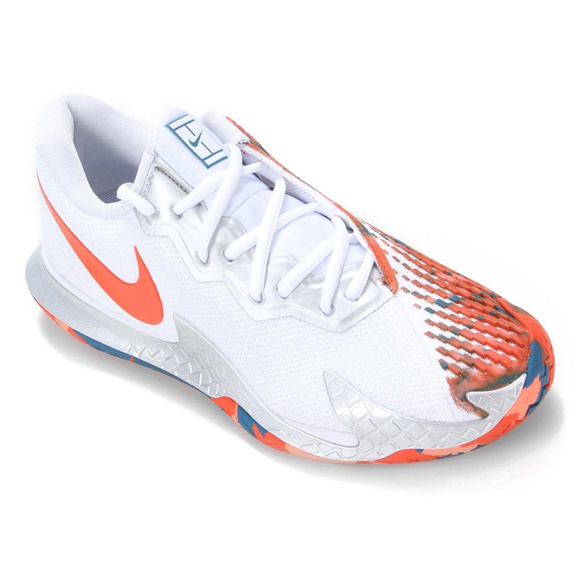 Tênis Nike Air Zoom Vapor Cage 4 HC Branco e Laranja - Masculino