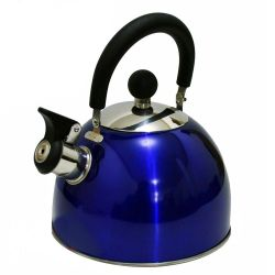 Chaleira Aço Inox Azul 1,8l Com Apito Bule