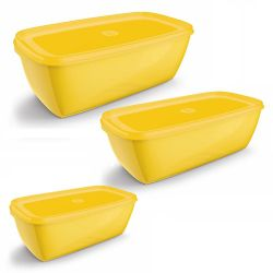 Conjunto 3 Potes Retangulares Amarelo UZ