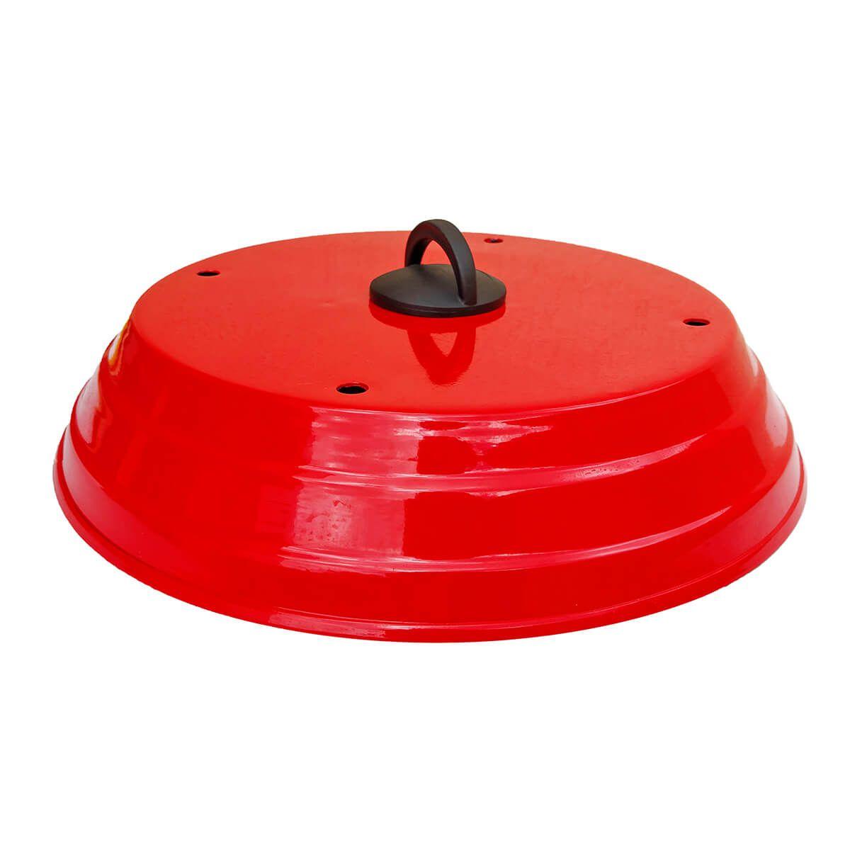 Abafador de Pizza para Churrasqueira Vermelho 40 cm