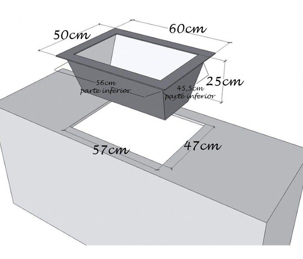 Caixa de Braseiro Inox 304 para Bancada - JX Metais - 60 x 50