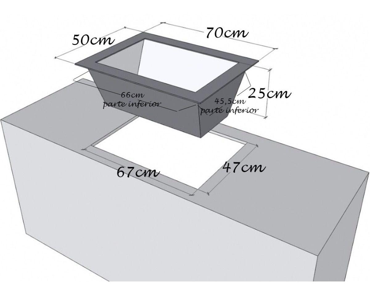 Caixa de Braseiro Inox 304 para Bancada - JX Metais - 70 x 50