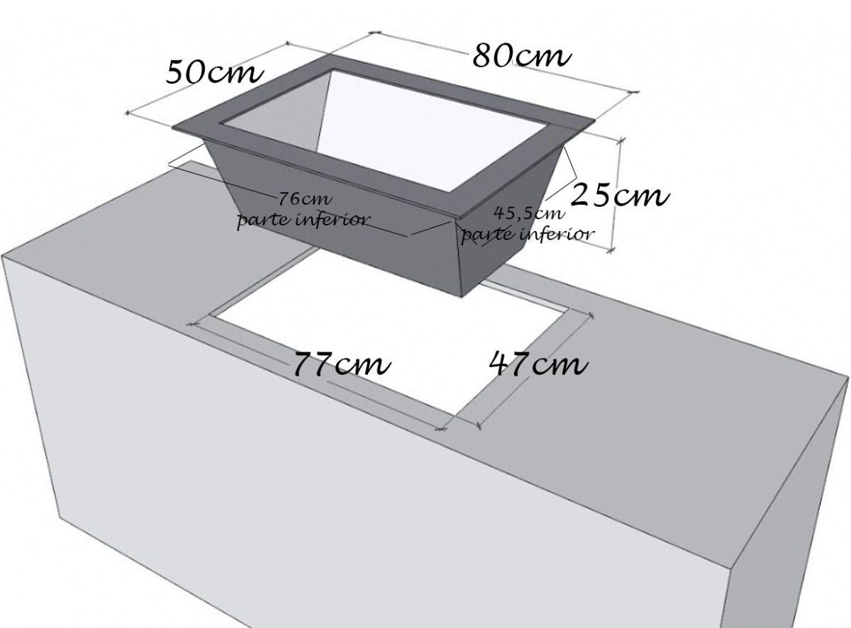 Caixa de Braseiro Inox 304 para Bancada - JX Metais - 80 x 50
