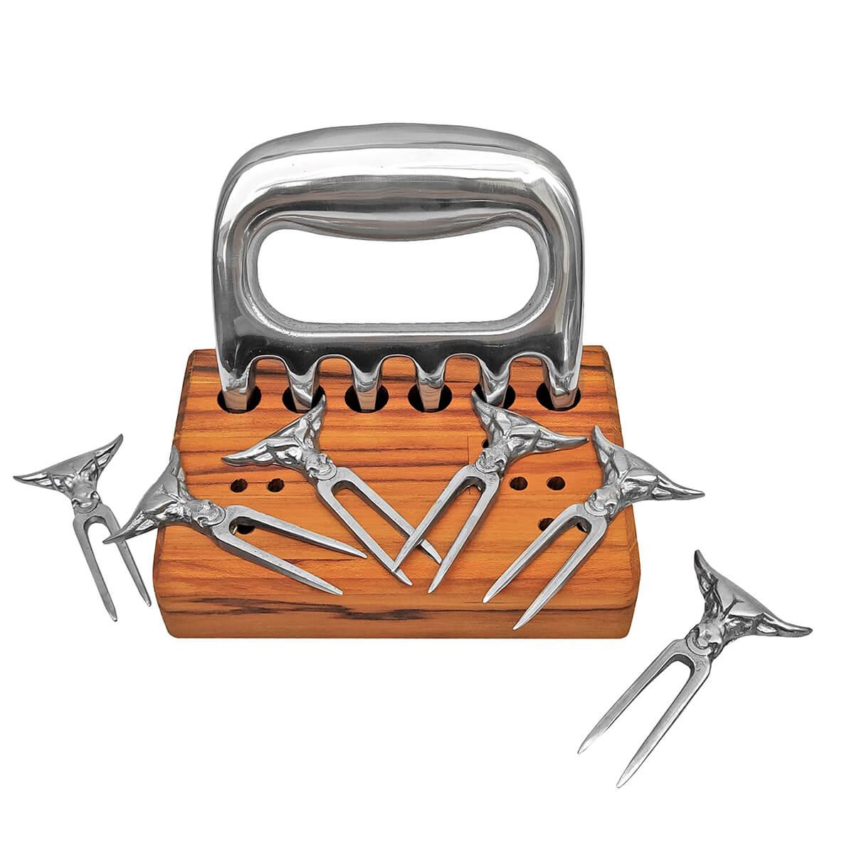 Kit Garra de Urso + 6 Mini Tridente + Base em madeira