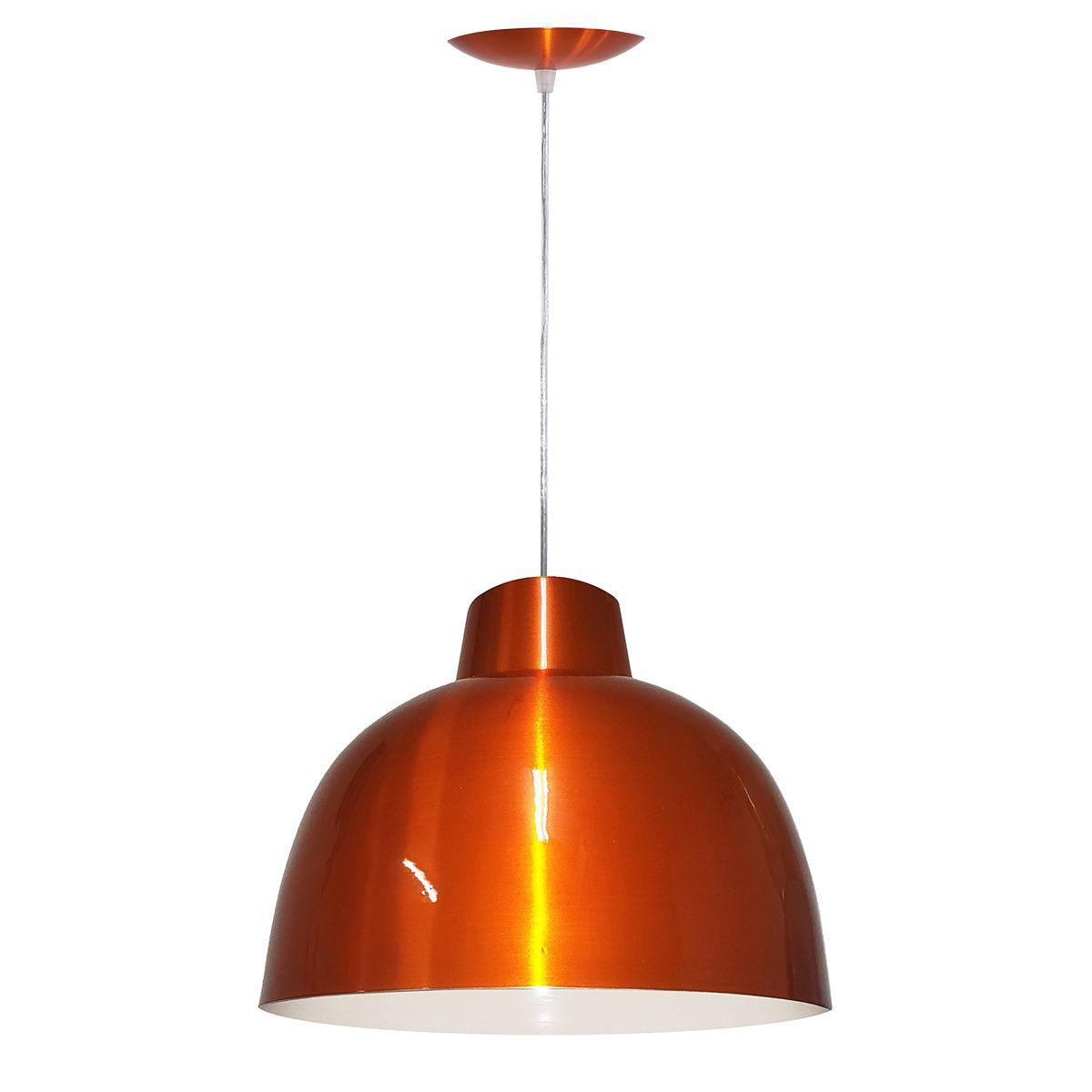 Luminária Decorativa Atena Laranja Cobreado com Pendente