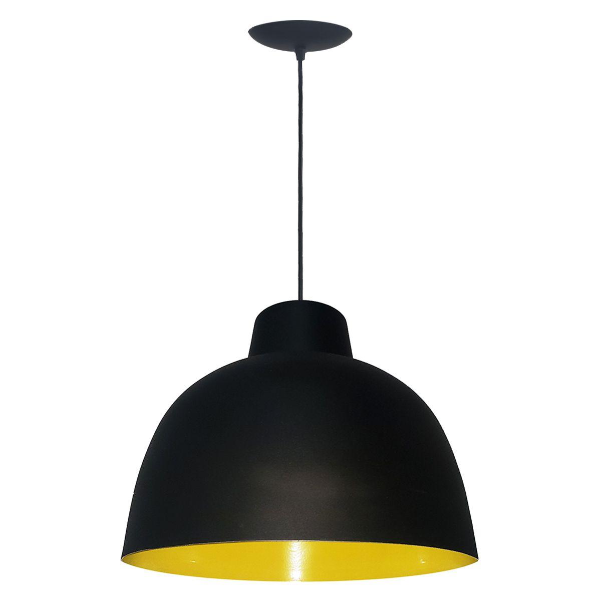 Luminária Decorativa Atena Preto/Amarelo com Pendente