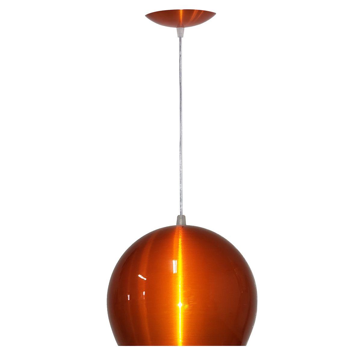Luminária Decorativa Bola P Laranja Cobreado com Pendente
