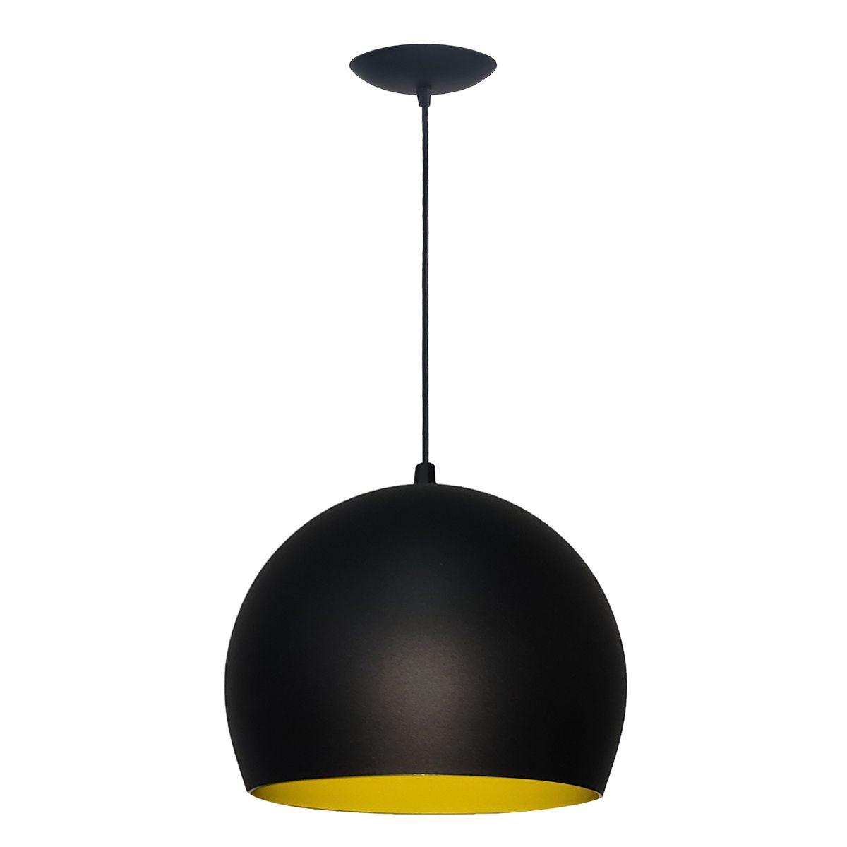 Luminária Decorativa Bola P Preto/Amarelo com Pendente