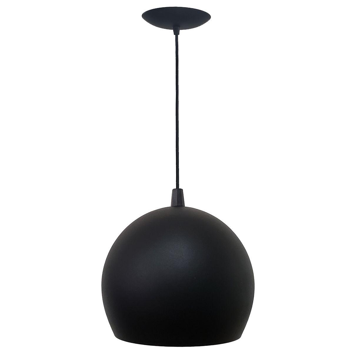 Luminária Decorativa Bola P Preto/Cobre com Pendente