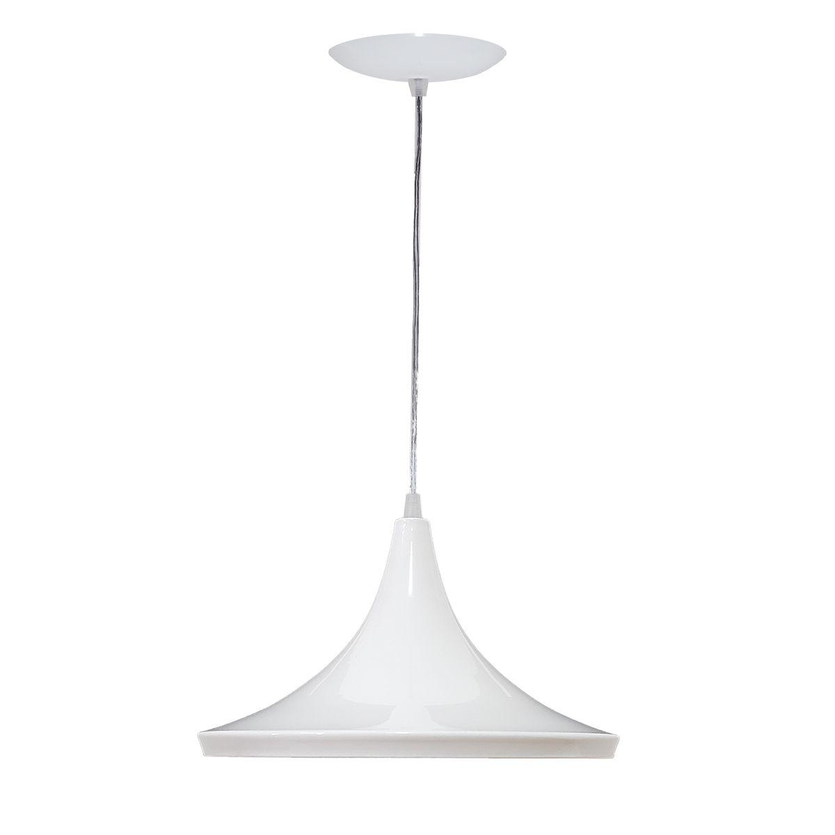 Luminária Decorativa Chapéu Chinês 34 Branco/Cobre Pendente