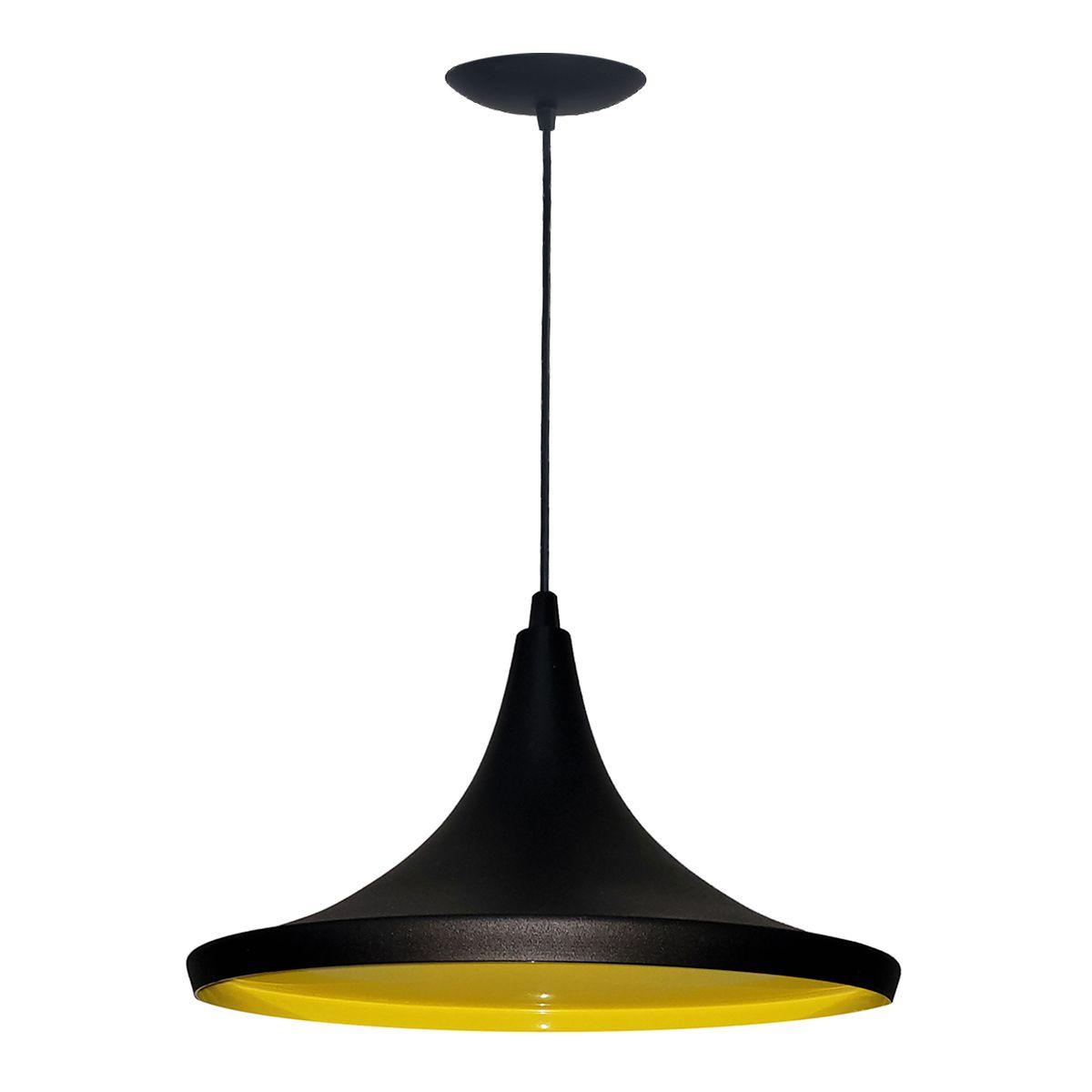 Luminária Decorativa Chapéu Chinês 34 Preto/Amarelo Pendente