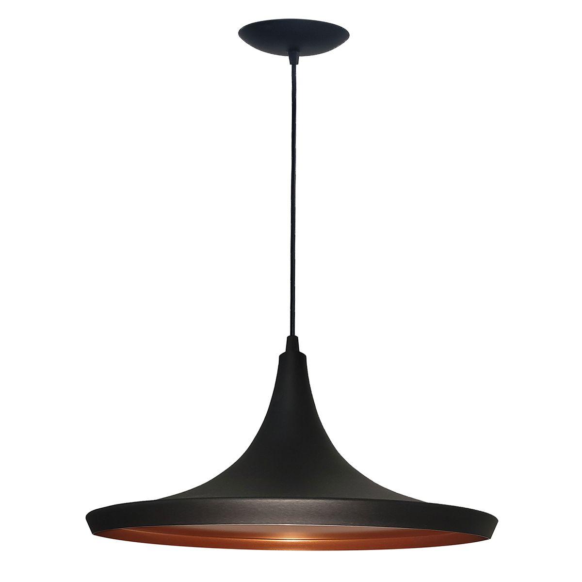 Luminária Decorativa Chapéu Chinês 34 Preto/Cobre Pendente