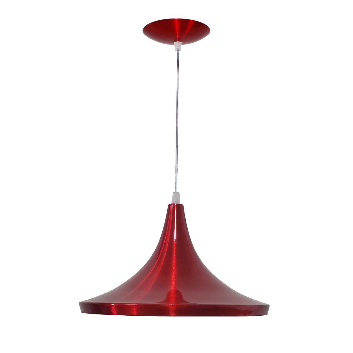 Luminária Decorativa Chapéu Chinês 34 Vermelho Cerj Pendente