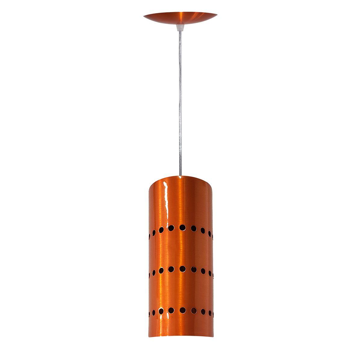 Luminária Decorativa Cilindro Laranja Cobreado com Pendente