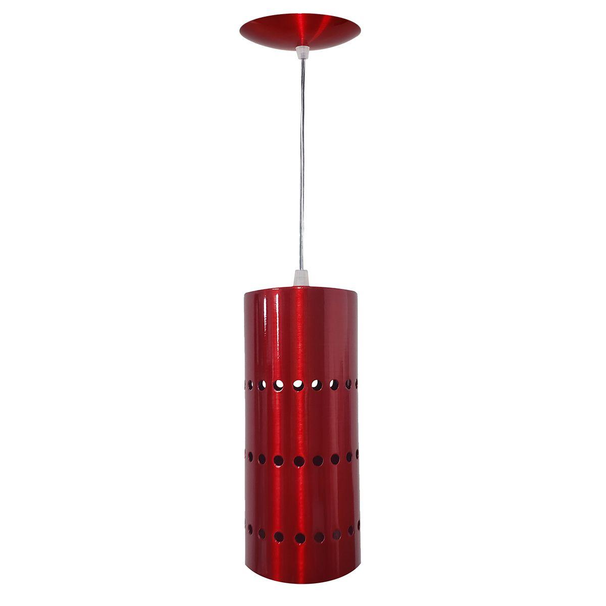 Luminária Decorativa Cilindro Vermelho Cereja com Pendente