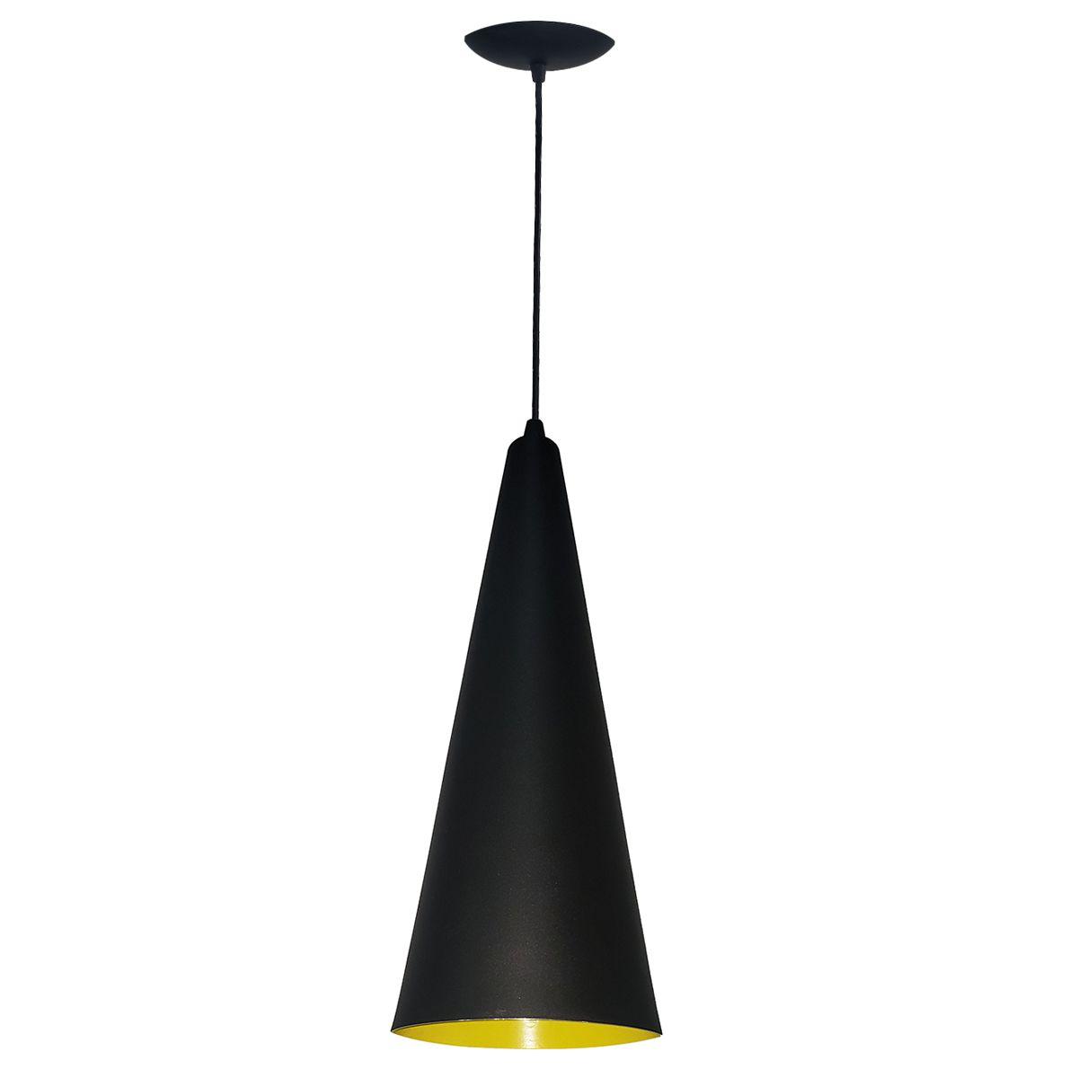 Luminária Decorativa Cone 31 Preto/Amarelo com Pendente