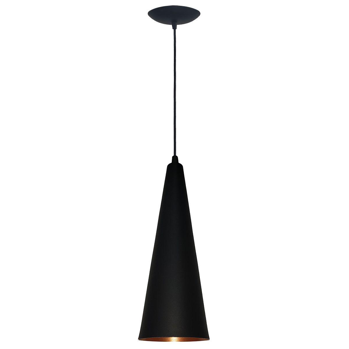 Luminária Decorativa Cone 31 Preto/Cobre com Pendente