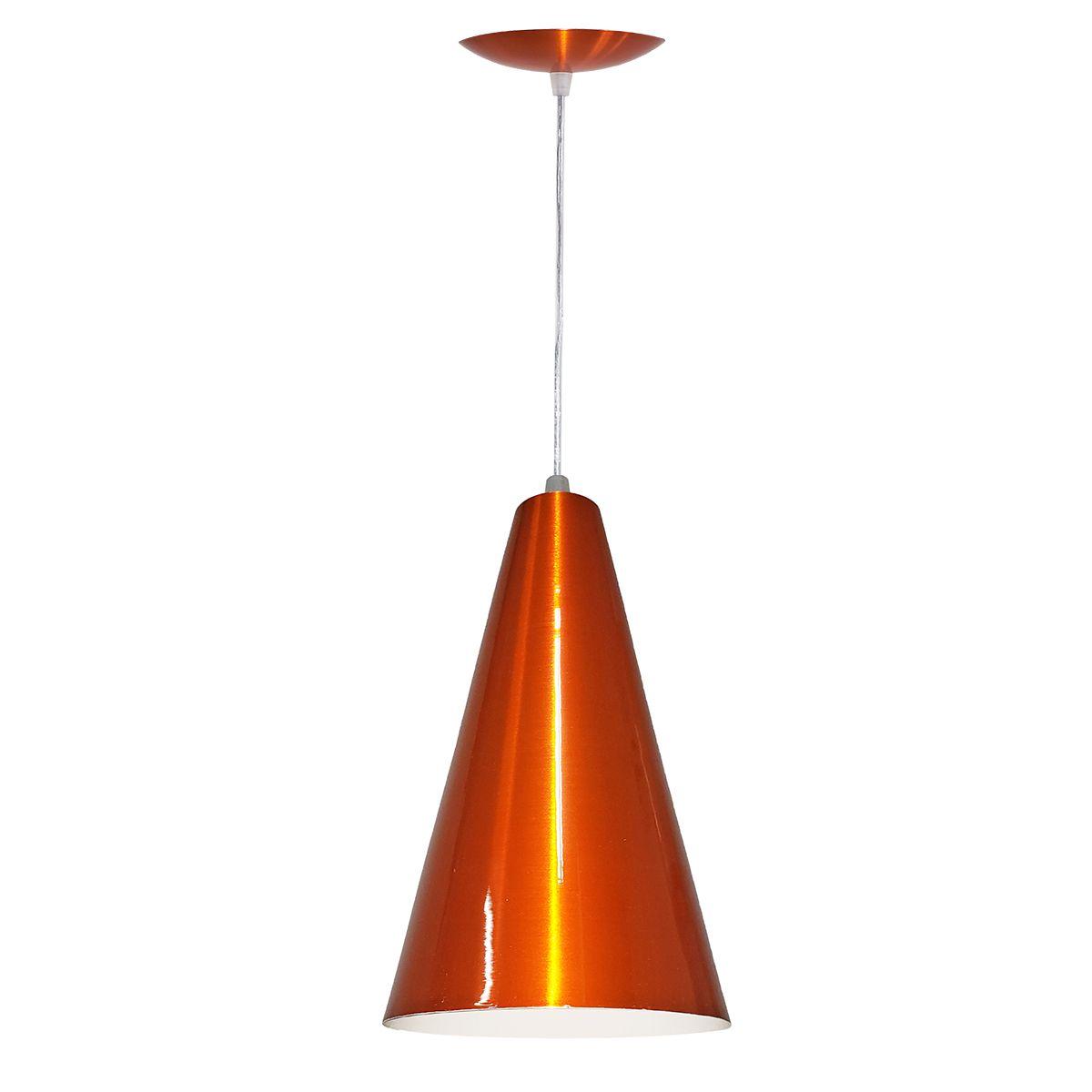 Luminária Decorativa Cônico 20 Laranja Cobreado com Pendente